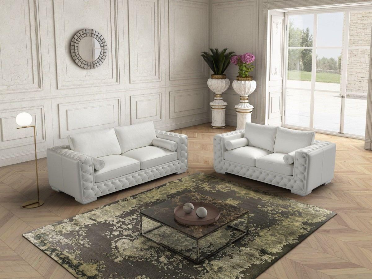 Chesterfield Sofa Set Severo in white