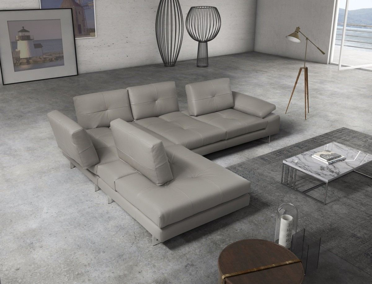Italian Leather Sectional Pino color grey