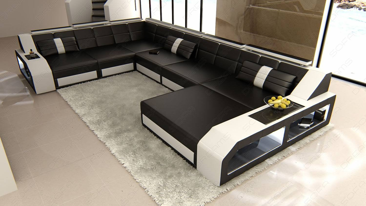 Sectional Leather Sofa Houston XL in black-white