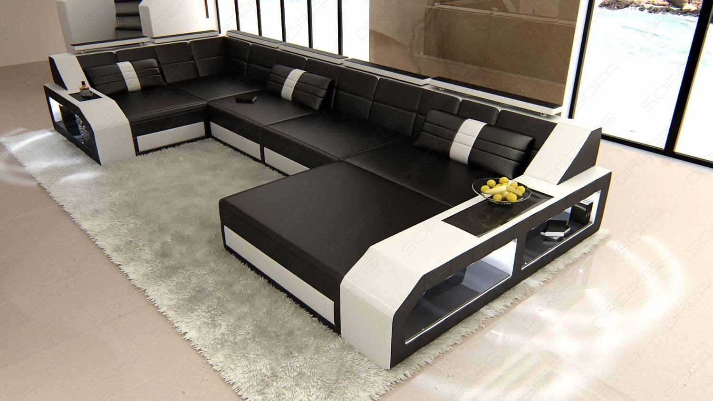 Design Sectional Sofa Houston LED lights black-white