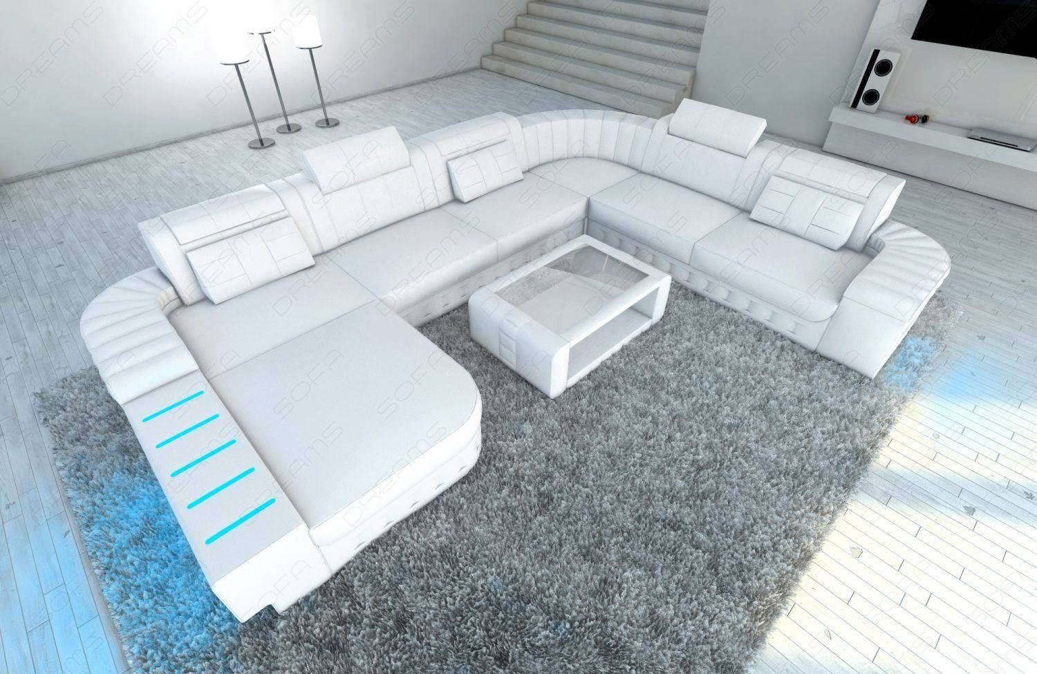 Couch with Chaise Boston U white