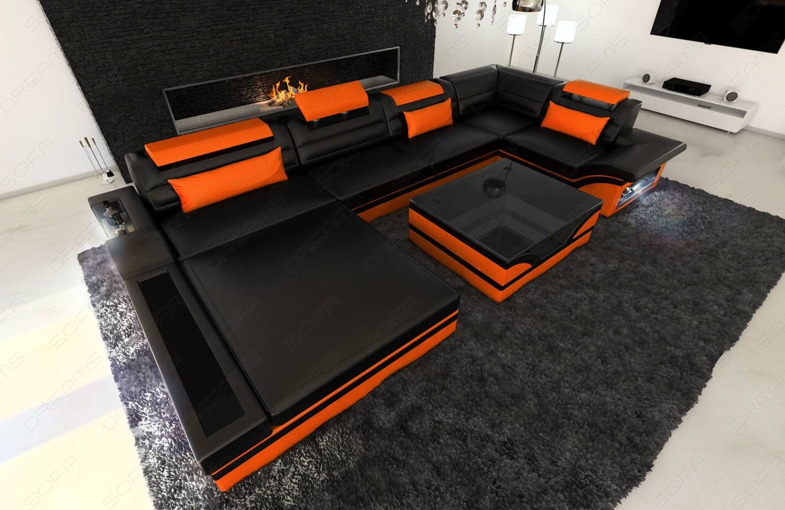 Design Leather Sofa Orlando with LED Lights