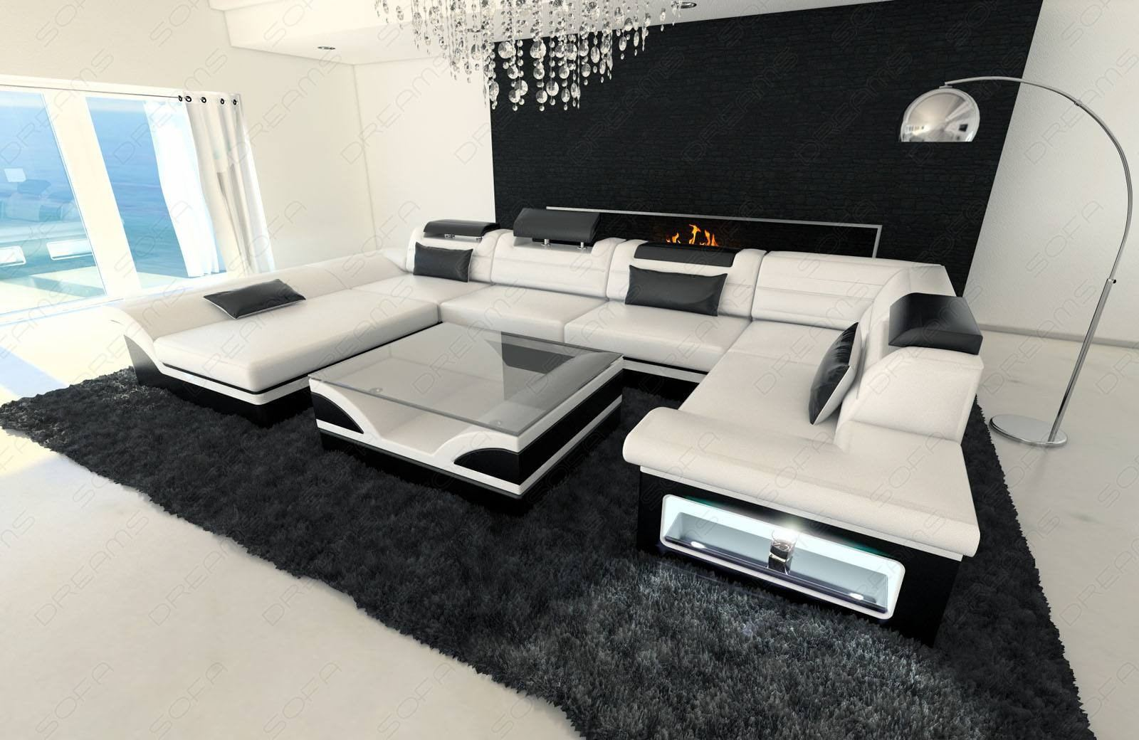 Big Leather Sofa Atlanta with LED Lights in white-black