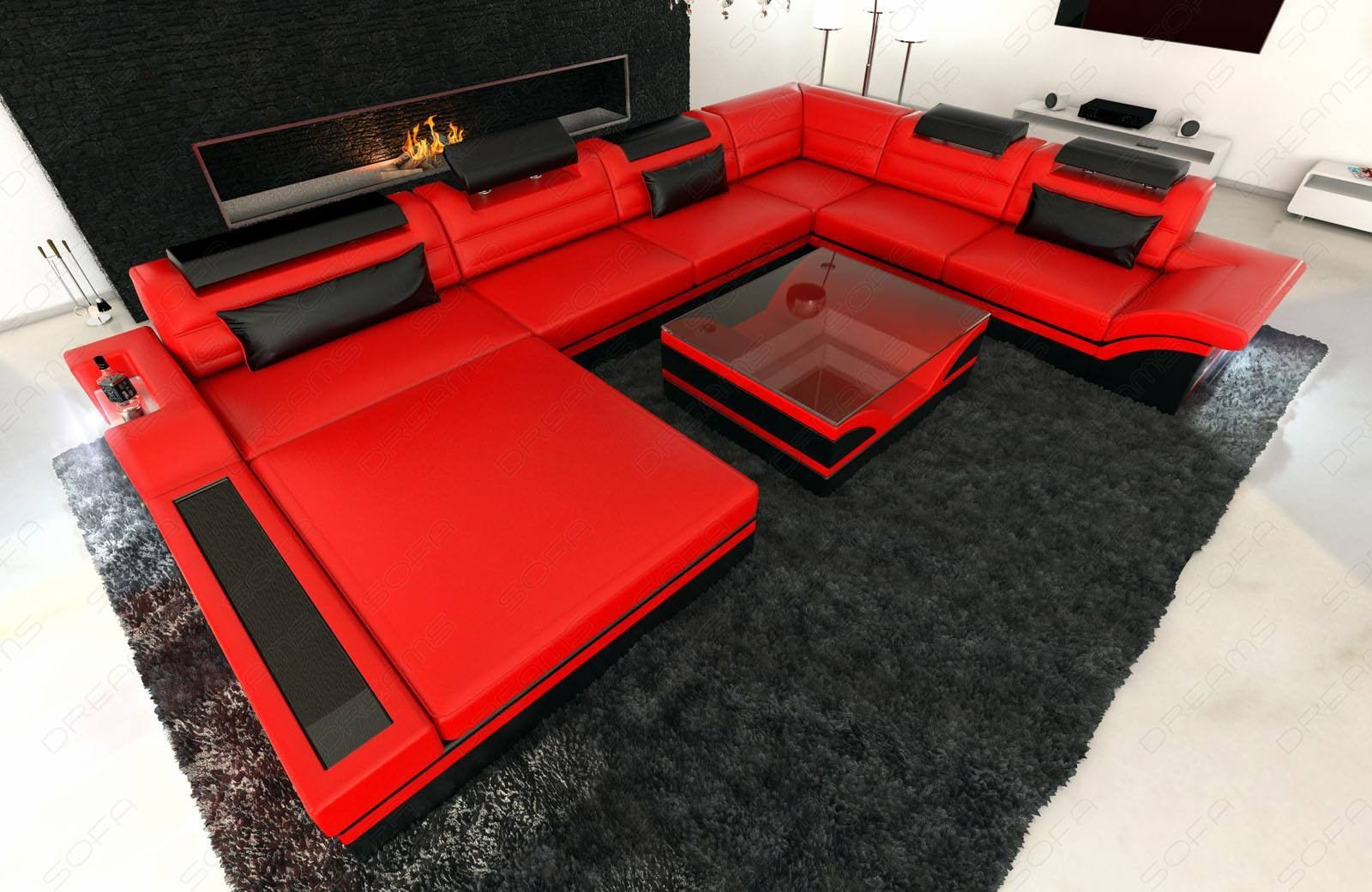 Design Sectional Sofa Orlando XL with LED Lights - red-black