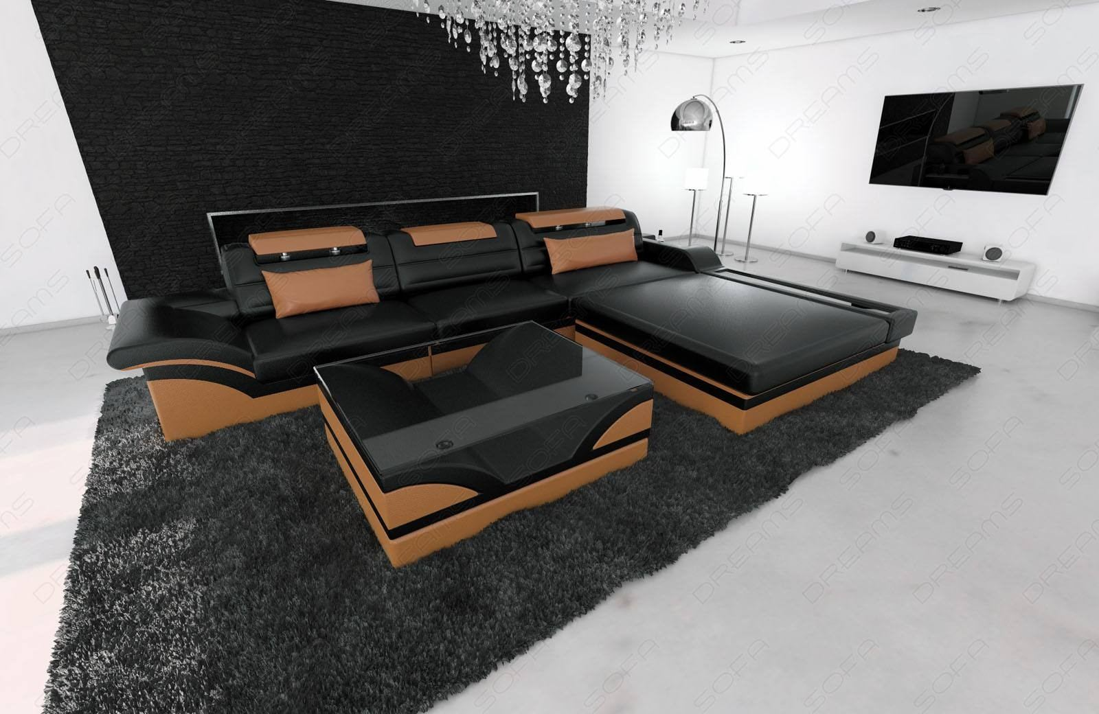 Designsofa Sand Francisco L Shaped black-brown