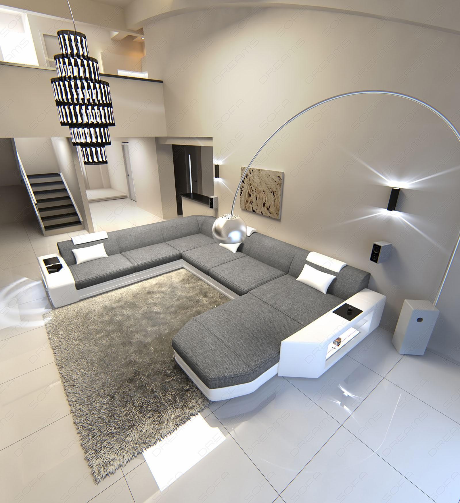 Fabric sectional sofa with led lights grey Hugo 5