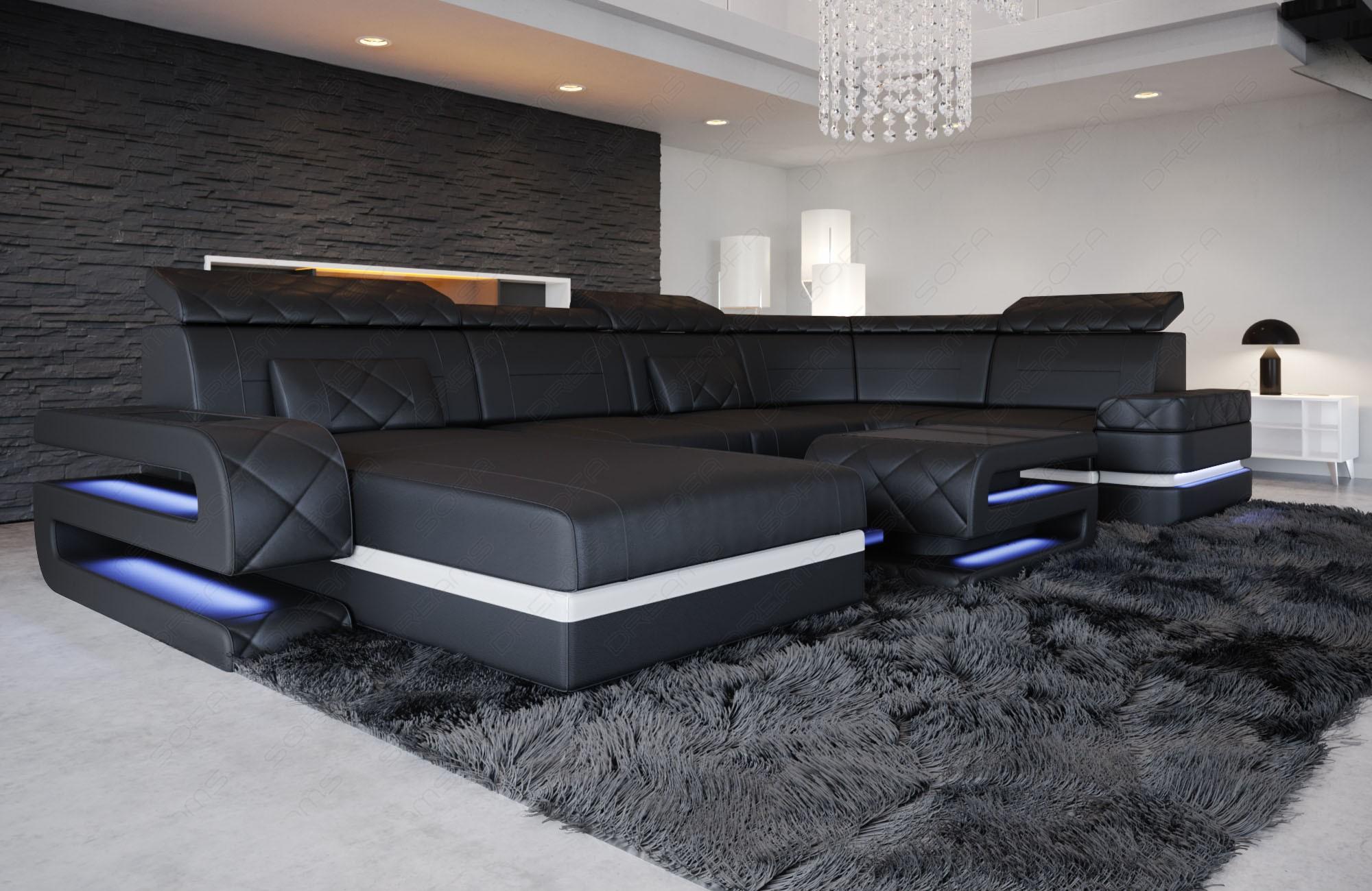 Sectional Leather Sofa Gainesville U Shape black-white