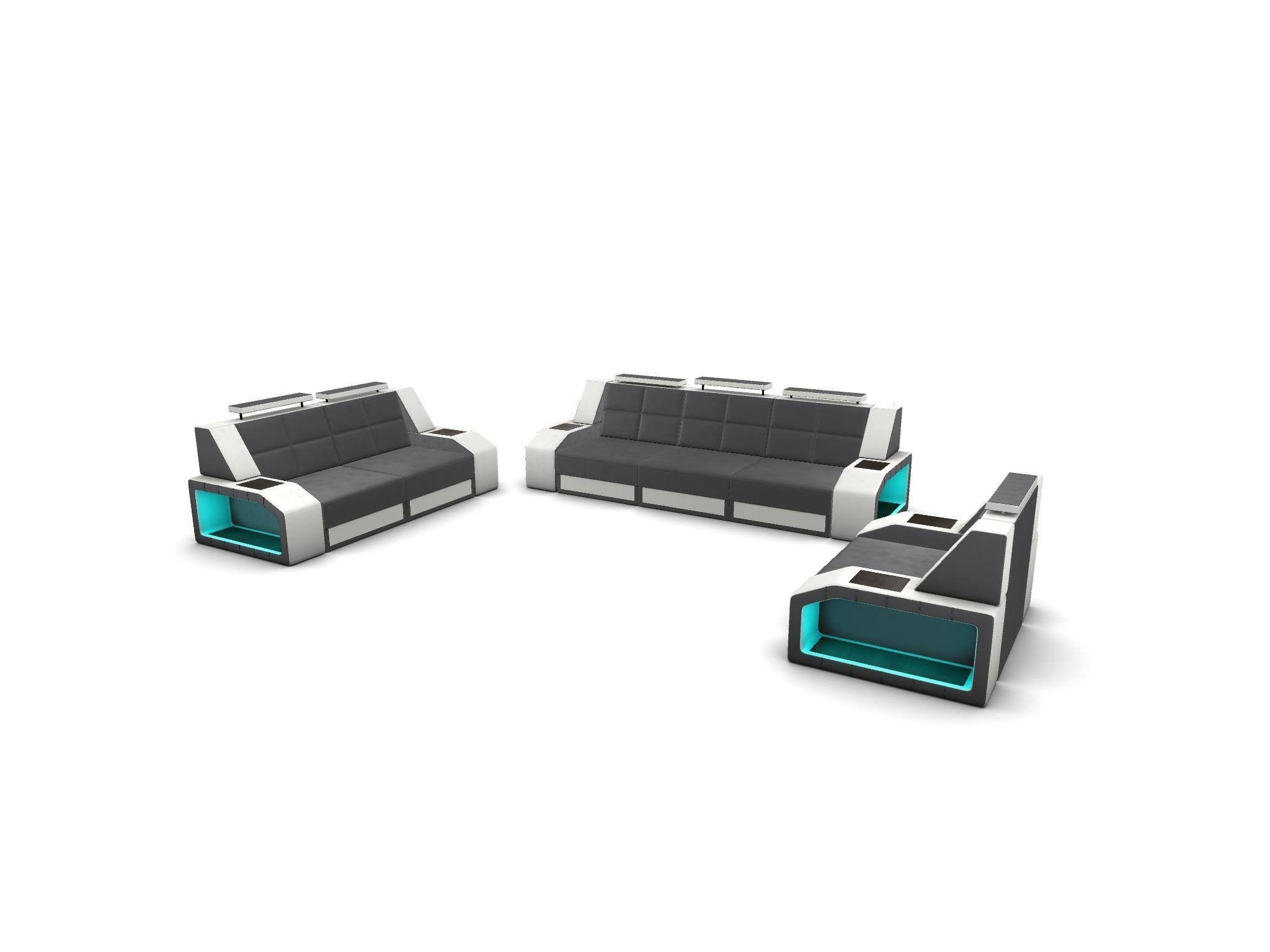 Sofa Set Houston with adjustable headrest - grey-white