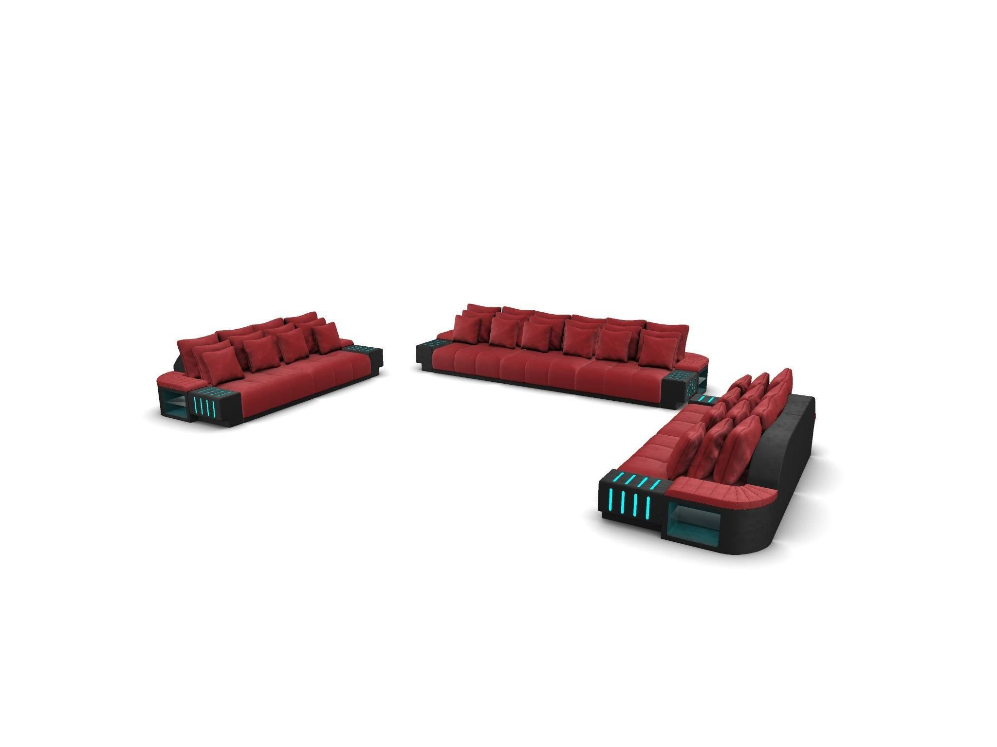 Couch Set Austin 3-2-1 with decorative pillows - red-black
