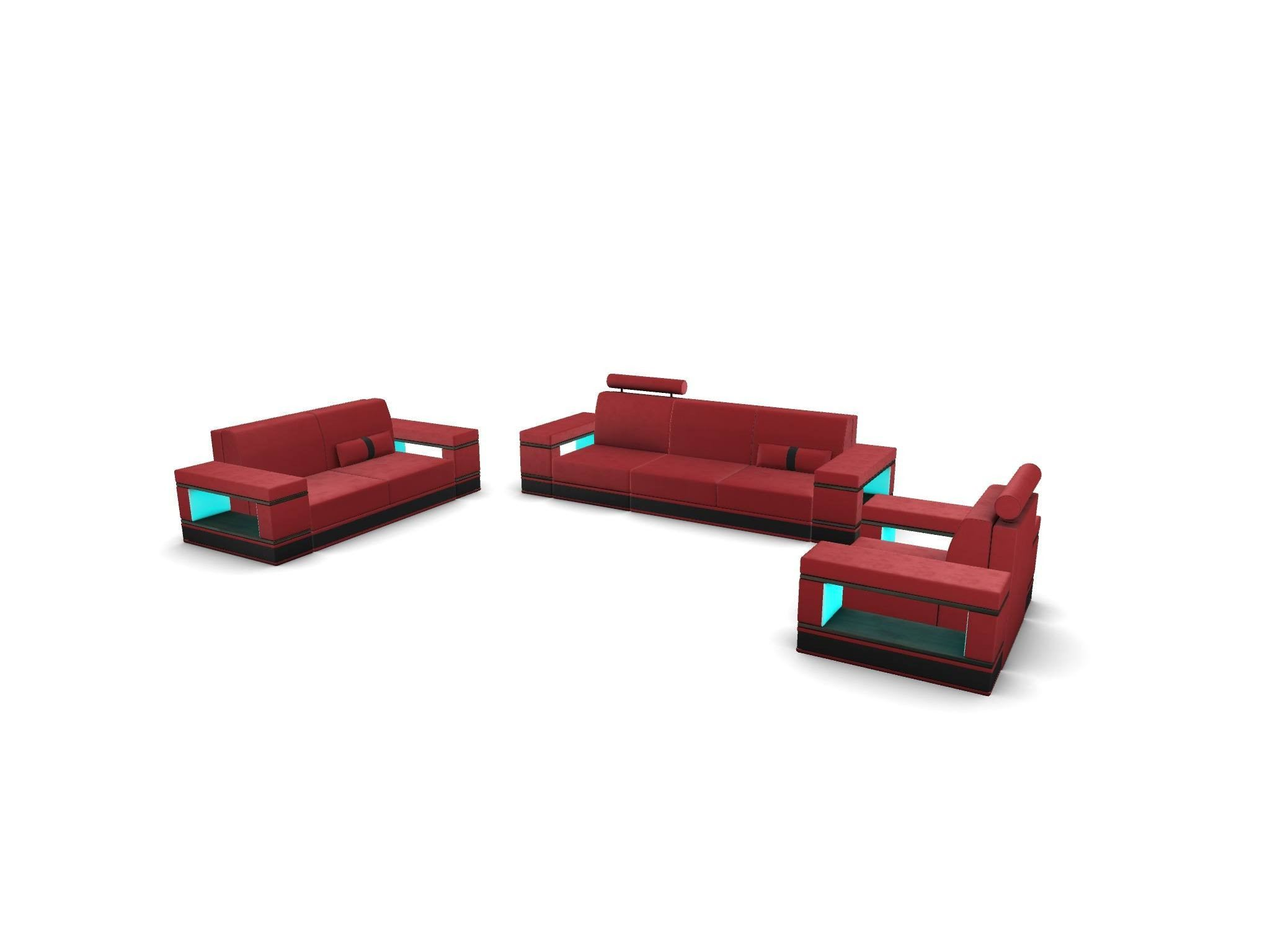 Sofa Set Los Angeles 321 with adjustable Headrest - red