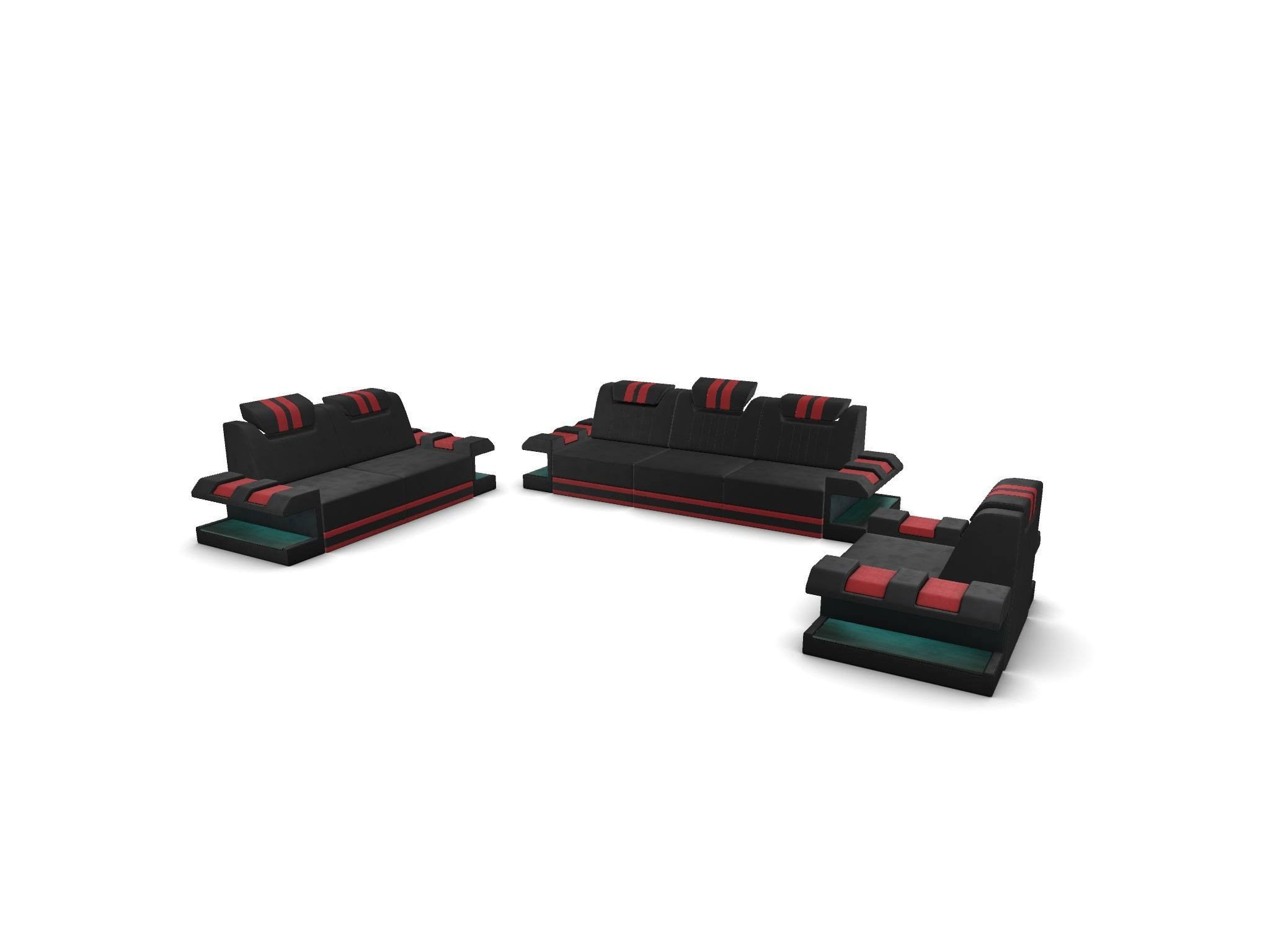 Sofa Set New Jersey with optional LED Lights - black-red