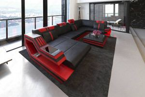 Genuine Leather Couch Hollywood U Shaped black-red