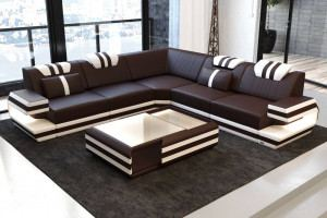 Modern Leather Sofa Hollywood with LED dark brown-white