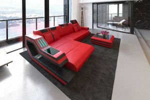 Luxury Sectional Sofa Hollywood L Shape with LED and USB red-black