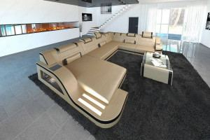 Design Sectional Sofa Detroit LED XL Shape sandbeige-black