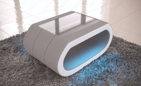Fabric Coffee Table Concept with LED lights in light grey-white