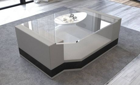 Fabric Coffee Table Los Angeles with glass plate