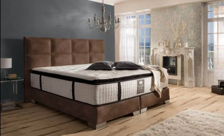 Boxspring Bed Hampton in brown