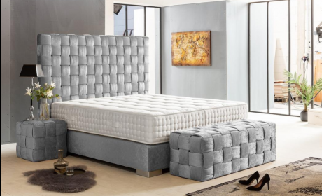 Boxspring Bed California in Silver