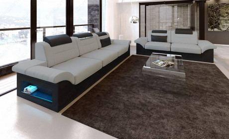 Couch set Atlanta fabric 3 and 2 seater light grey - Mineva 12