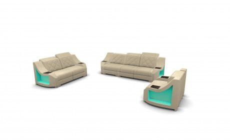 Leather Sofa Set Palm Beach 321- ivory