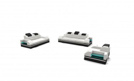 Sofa Set 321 Orlando with adjustable Headrest - white-black