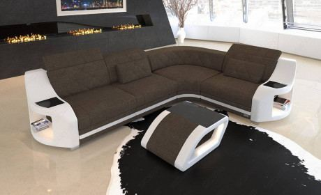 Upholstered couch Columbia with LED lighting in structured fabric Hugo 8 - brown
