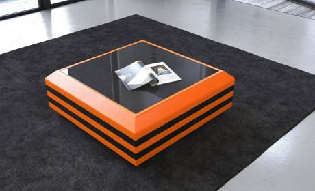 Coffee Table Leather Hollywood extendable in orange-black