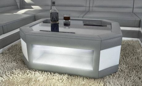 Leather Coffee Table Dallas with glass plate