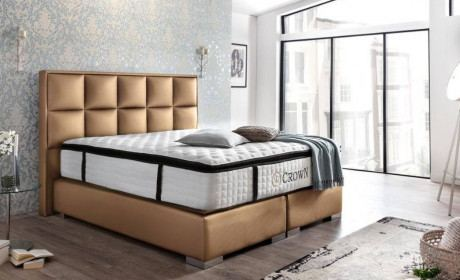 Boxspring Bed Mandarin in synthetic leather - gold