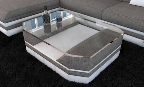 Fabric Coffee Table New York with glass plate