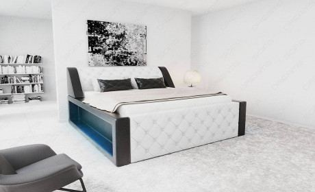 Box Spring Bed Arezzo in white-black