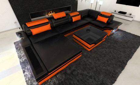 Design Leather Sofa Orlando with LED Lights