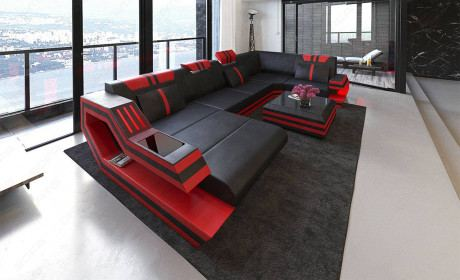 Design Sectional Sofa Hollywood U Shape with LED and USB
