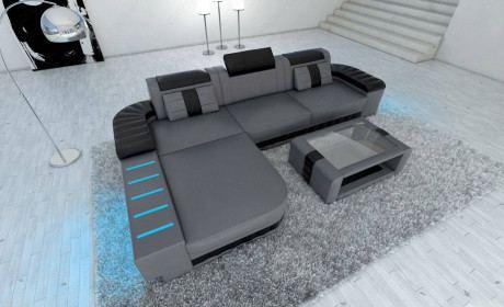 luxury sofa Boston L Shape in grey-black