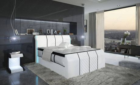 Leather Box Spring Bed Clayton in white - black