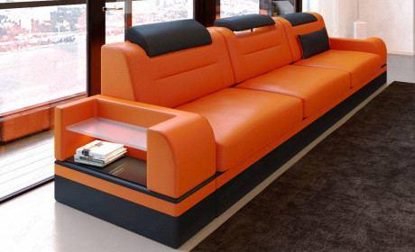 3 Seat Leathersofa Orlando in orange - black