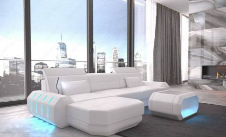 Modern Leather Sofa With LED Lights an USB Connection - white