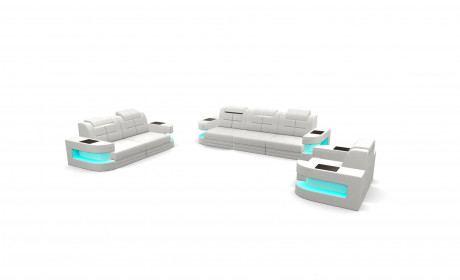 Sofa Set Denver with adjustable Backrest white