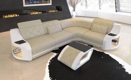 Columbia corner sofa LED lighting in beige - white