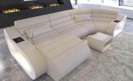 Leather Sofa Daytona U Form with LED Lighting - beige - white