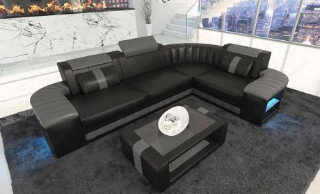 Corner Sofa Philadelphia with LED lights in black - grey