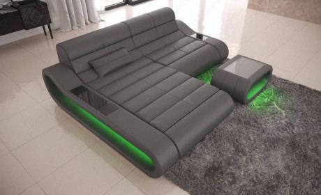 Design Sofa Sectional Concept L Shape with LED lights - grey