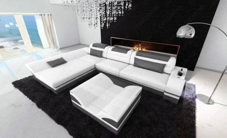 Design Corner Sofa Atlanta with LED white-grey