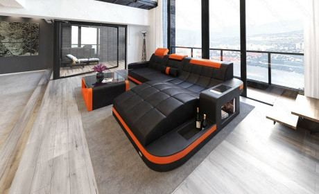 Luxury Sectional Sofa Jacksonville L Shape LED in black-orange