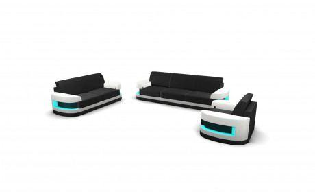 Sofa Set Tampa with adjustable Backrest - black-white