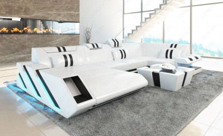 Modern Leather Sofa With LED Lights an USB - white-black