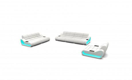 Sofa set Concept 321 with optional LED lights - white