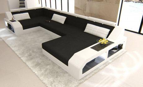 Fabric Sectional Sofa Houston U with LED lighting black - Mineva 14
