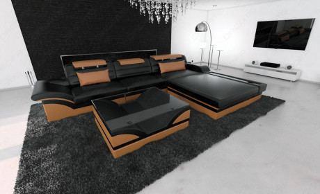 Designsofa Sand Francisco L Shaped black-brown